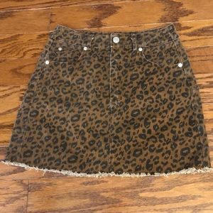 Women's High Waisted Leopard Print Denim Skirt